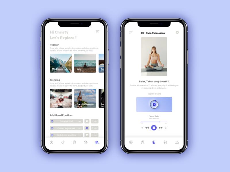 Meditationapp wellness health app meditate yoga app ui ui design app design