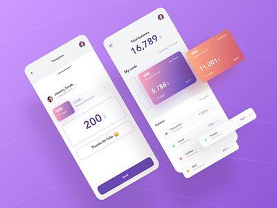Banking Mobile App banking app dashboard visa balance transaction payent credit card app banking