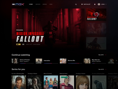 HBO Max Design Intro & Interactions web logo after effects interaction motion streaming video-on-demand vod service series movies app movies netflix red dark app ui max hbo max hbo