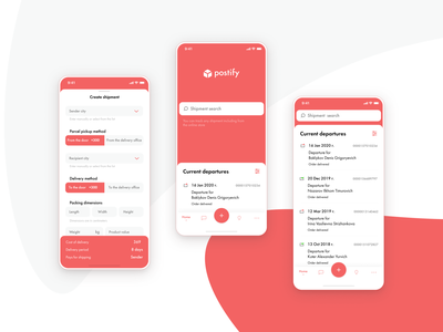 Shipping app color concept ux ui mobile minimal ios design clean app