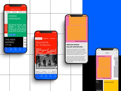 STRELKA Institute app conept Ep.2 color ui ux branding brutalism mobile minimal ios design concept clean app