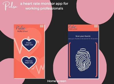 Pulse- heart rate monitoring app flat branding interface web buttons navigation app ux ui design