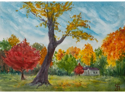 Exuberance (Watercolor) trees colors fall autumn impressionist watercolor painting watercolor landscape painting illustration painting fineart