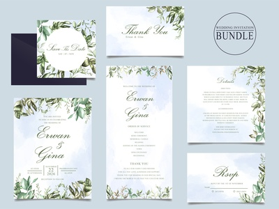 Wedding invitation card bundle with green leaves template