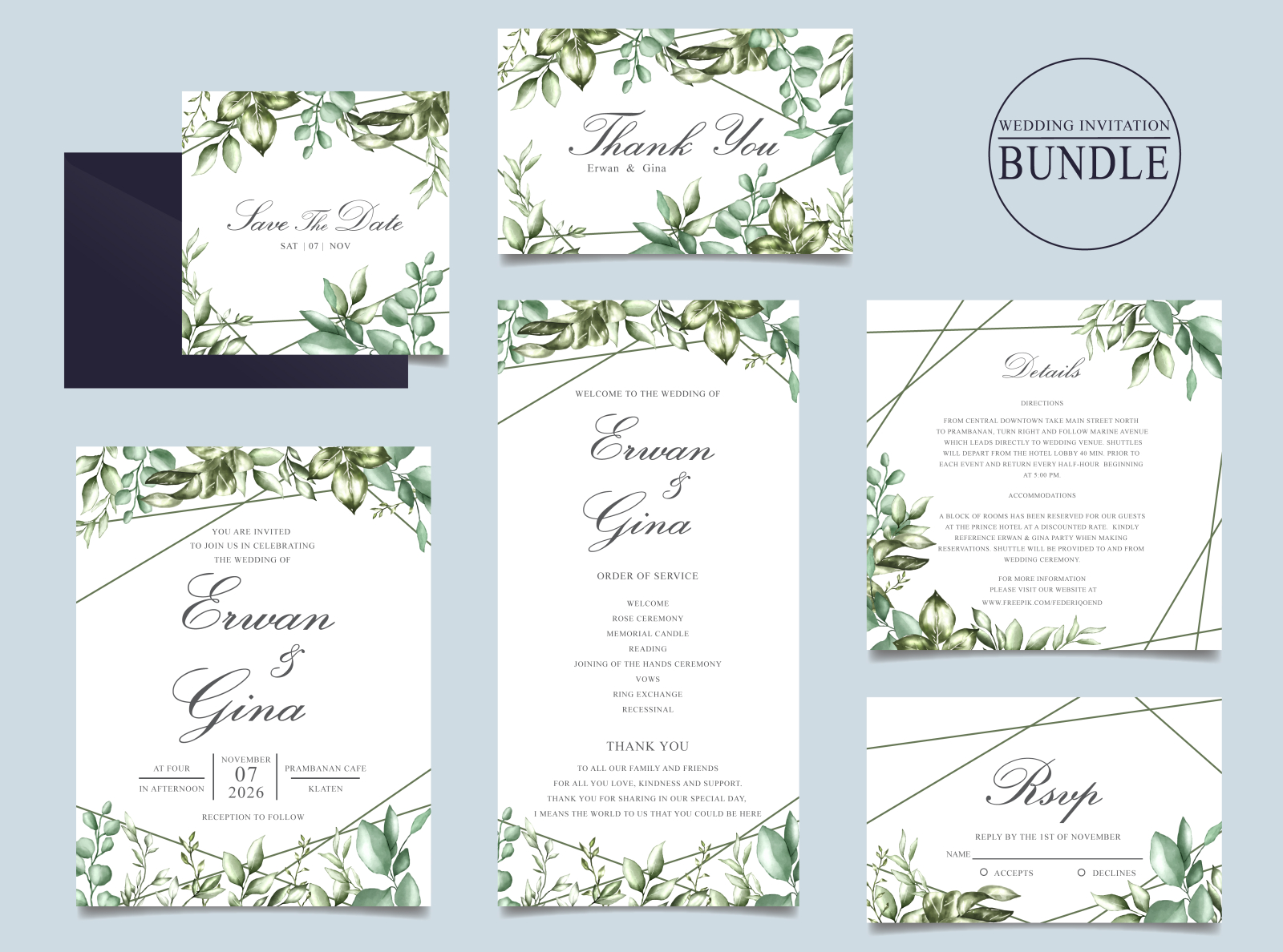 Wedding Invitation Card Bundle With Green Leaves Template By
