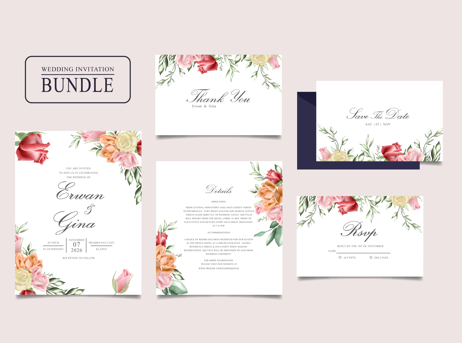 Wedding Invitation Card Bundle With Watercolor Floral And