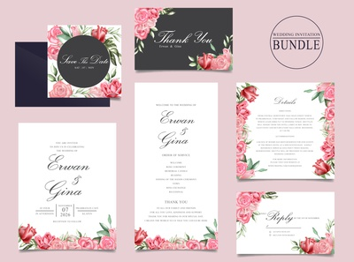 Wedding invitation card set with watercolor floral and leaves