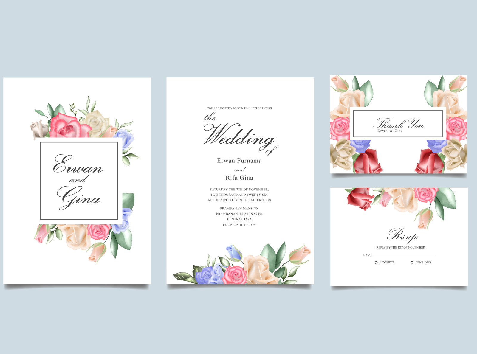 Wedding Invitation Card Set With Watercolor Floral And