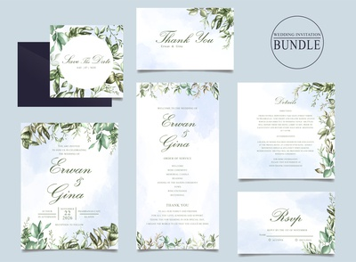 Wedding invitation card bundle with green leaves