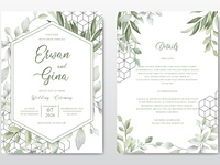 Elegant Wedding invitation Card Template with Watercolor Leaves