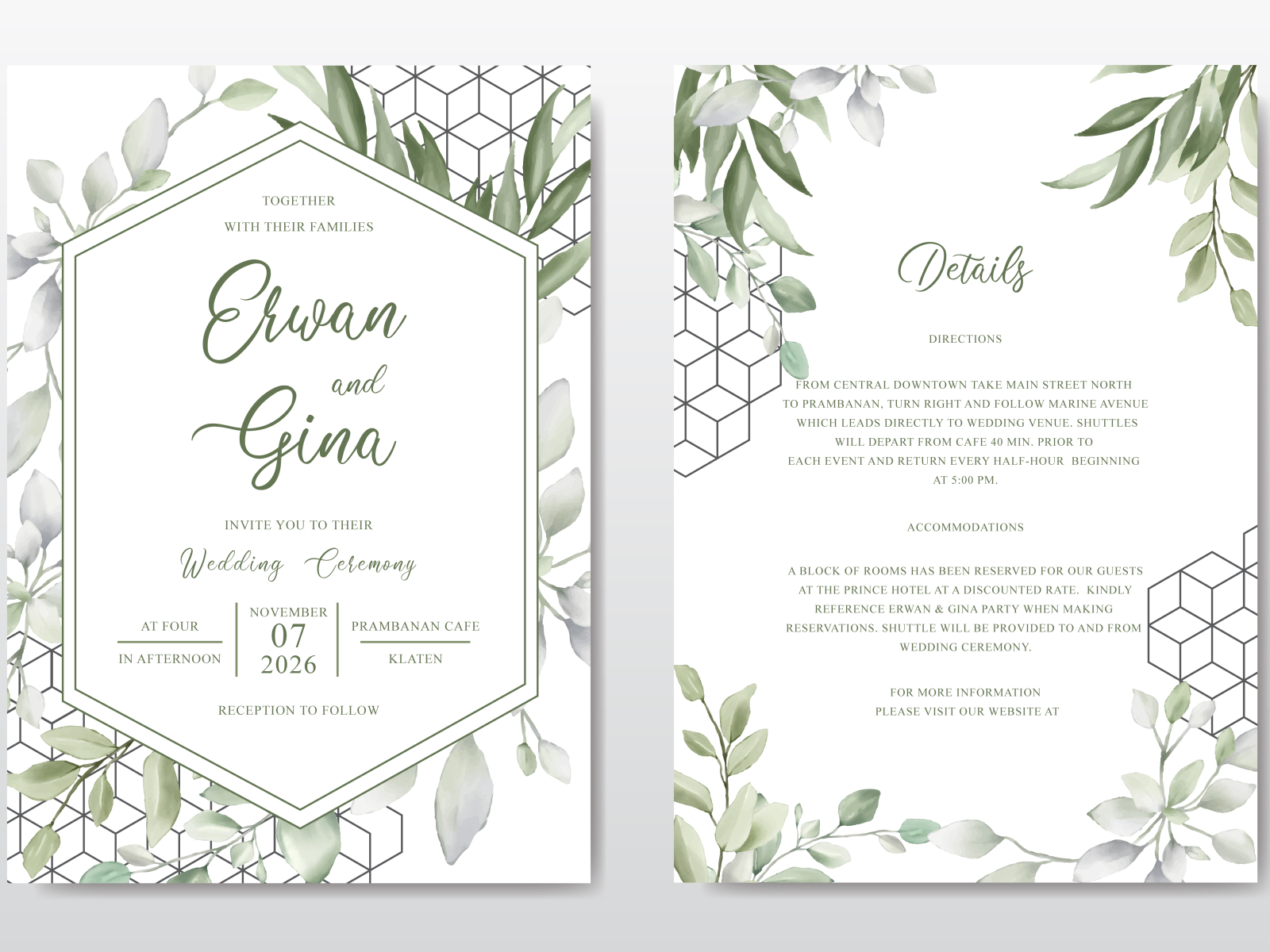 Elegant Wedding Invitation Card Template With Watercolor