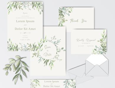 Beautiful Watercolor Wedding Invitation Template with Foliage