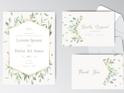 Beautiful watercolor wedding stationary template collection with bouquet illustration leaves watercolor foliage background plant card flower template pink isolated summer leaf nature design greeting art green blossom
