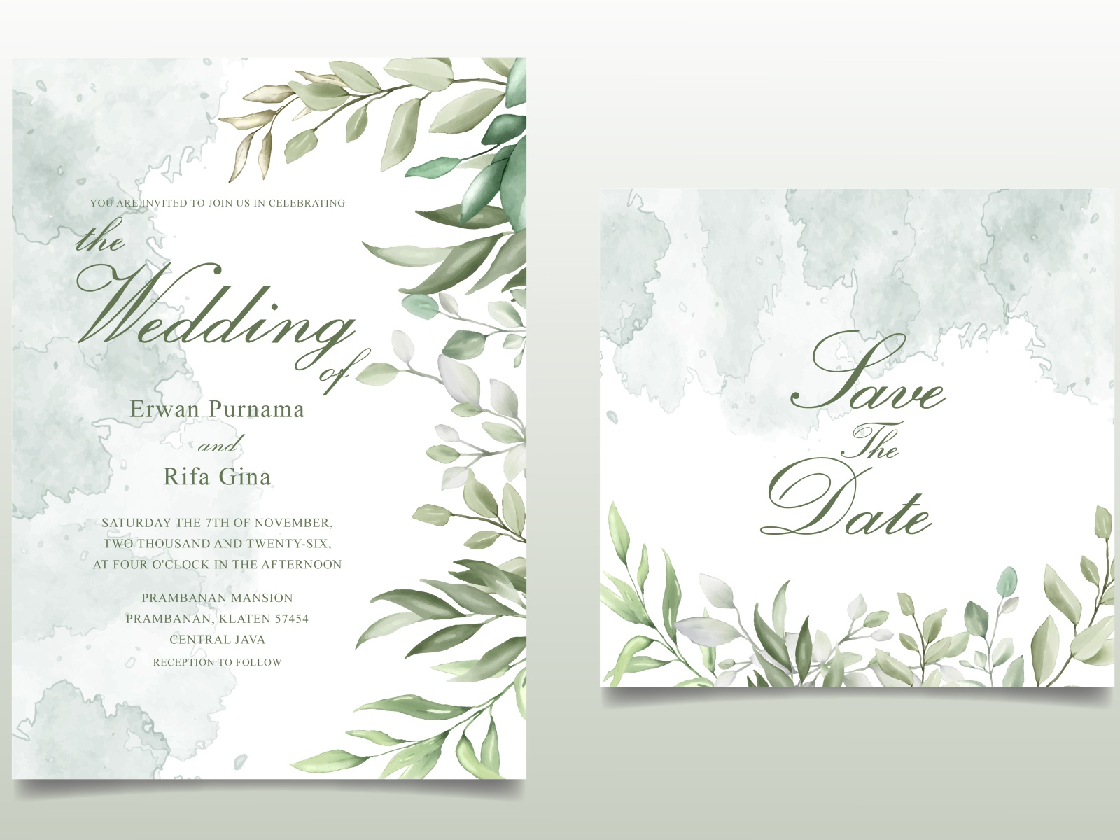 Elegant Hand drawn Wedding invitation card with Beautiful Leaves
