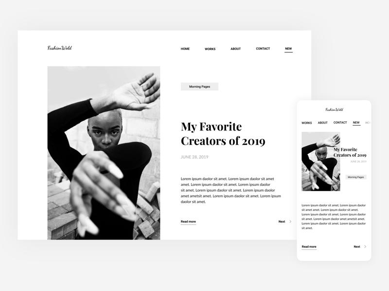 Fashion web mobile design ui