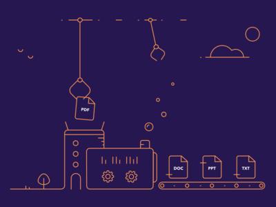 File conversion factory illustration