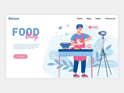 Food Blog landing page portfolio landing page portfolio page top design 2021 website ui design web app web app design blog website web site food web site ux design ui design illustrator landing page food blog landing page bloggin template food blog