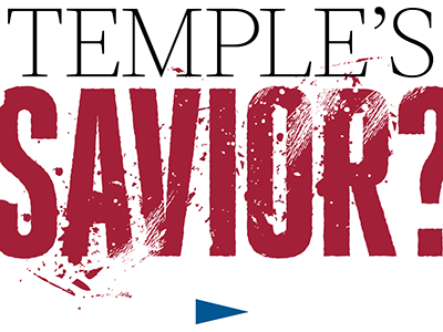 Savior? type messy football red editorial headline