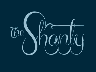 The Shanty lettering script logo bar martini time