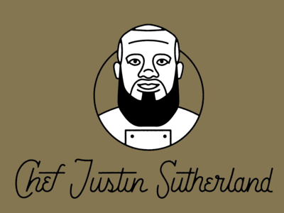 Chef Justin Sutherland food chef cooking portrait illustraion logo