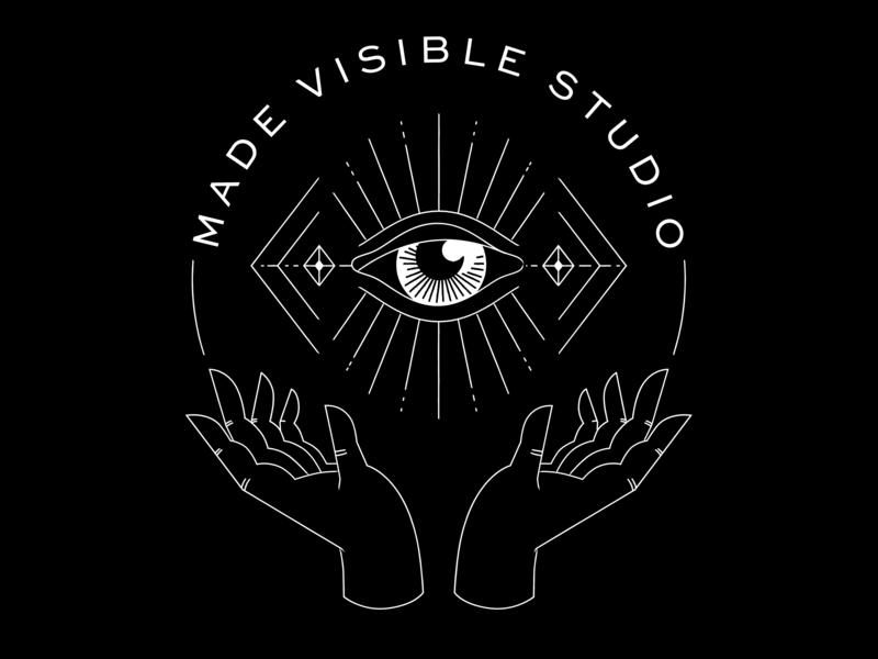 Eye Worship vector illustration thin lines tattoo eyeball hands badge teeshirt logo