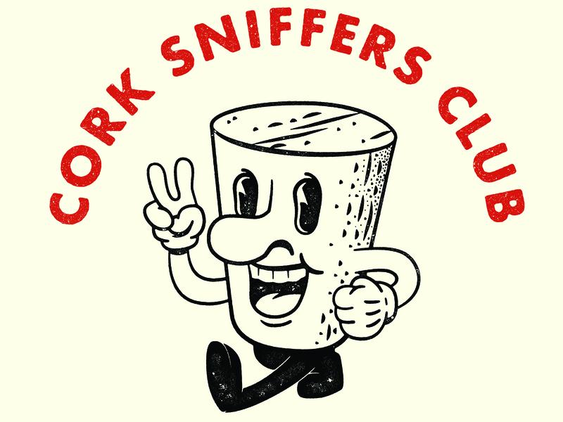 The Sniffer cork wine vintage futura distressed vector illustration