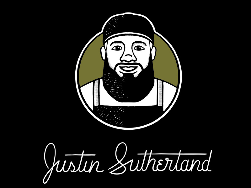 Chef Justin Sutherland Final logotype branding character lines texture cooking lettering typography type portrait vector logo