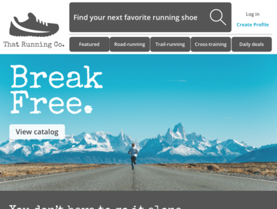 Landing page - running shoes