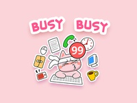 Pinky Cat Busy
