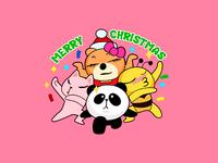 Sticker Panda Bee Cat Merry Christmas!