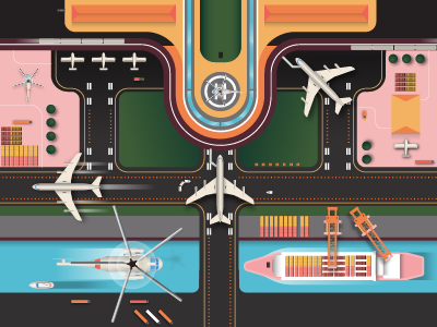 AIRPORT transit transport iconography icon illustrator truck helicopter crane boat ship airplane airport