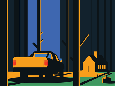 CABIN IN THE WOODS trees axe minimal illustration vector truck woods cabin