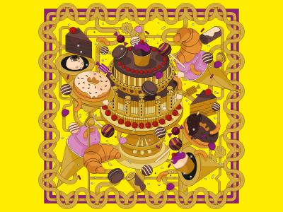 Time For Tea illustration isometric croissant sweets icecream doughnut confectionary cake tea