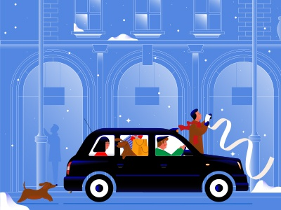London Christmas in March vector christmas shopping snow dog tfl characterdesign character london