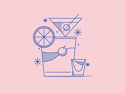 Cocktail Icon minimal monoline illustration halftone cocktail iconography icon