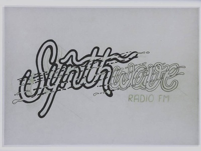 Synthwave Draft inking design type rough draft draw ink lettering letter