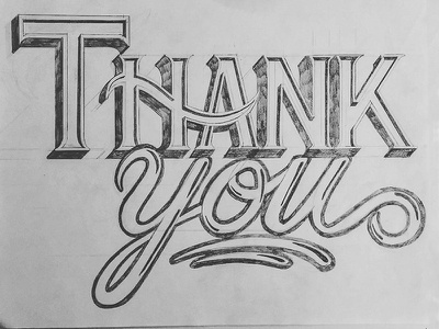 Thank You Sketch Card blackandwhite illustration rough typography lettering letter typo type sketch