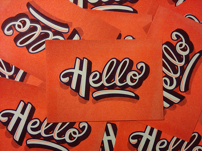 Hello Card illustration type riso vecto lettering letter typography