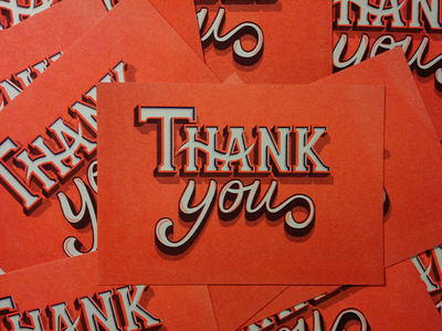 Thank You Card illustration type riso vecto lettering letter typography