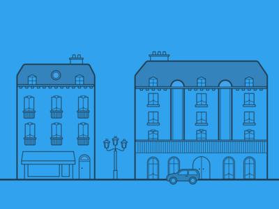 Portfolio Project Header - Paris Street haussmann web outline sketch street paris portfolio illustration header
