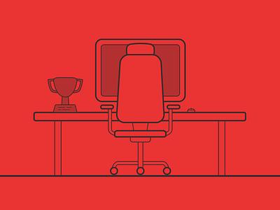 Portfolio Project Header - Gamer Desk gamer header desk trophy computer sketch outline chair illustration portfolio web