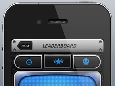 iOS Game Leaderboard ios iphone app ui leaderboard buttons screen leather metal screws game