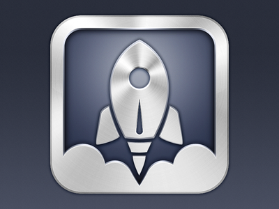 Launch Center Pro app icon ios app icon iphone rocket metallic app icon clouds