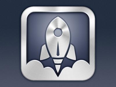 Launch Center Pro app icon ios app icon iphone rocket metallic app icon clouds