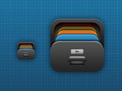 iOS Drawer icon ios icon iphone drawer metal