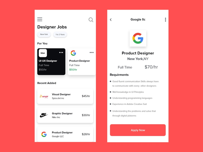 Find Job Page #uidesign web interaction uxdesign ux uidesign ui design appdesign app
