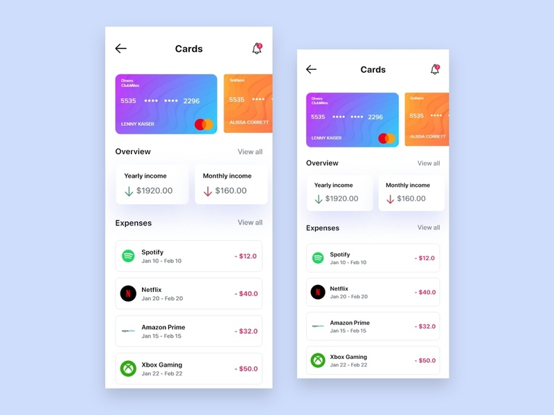 Expenses Page Interface Design expenses interaction uxdesign ux uidesign ui design appdesign app