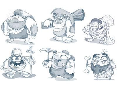Cavemen Dribb concept art ideas cavemen sketch