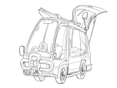 Manny Sketch Dribb vanlife van character design car