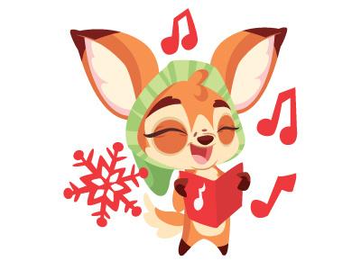 Singingdeerdribbb deer christmas carols vector character design